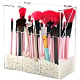 Acrylic Makeup Brush Holder with Dustproof Lid, MUZILAN Large Capacity Acrylic Clear Cosmetic Brush Storage Organizer for Vanity, with 3 Drawers and Pearls