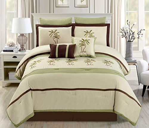 "8 Piece Oversize Sage Green / Dark Beige / Brown Tropical Palm Tree Embroidered Luxury Comforter Set Queen Size Bedding 94""X92"""