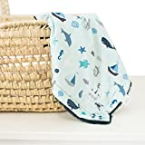 Minky Super Soft Baby Blankets, Receiving Blankets with Nautical Blue Printed Design by Graced Soft Luxuries