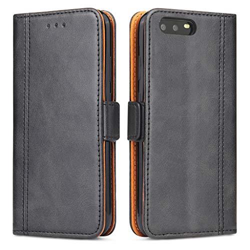 Bozon Huawei P10 Hülle, Leder Tasche Handyhülle für Huawei P10 Schutzhülle Flip Wallet mit Ständer und Kartenfächer/Magnetverschluss (Schwarz)
