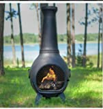 Propane Chiminea - Blue Rooster ALCH027GK-LPG - Prairie Gas Chiminea Outdoor Fireplace - Charcoal