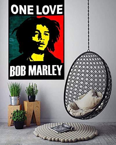 Hermosa habitación bohemia dormitorio decoración hippie pequeño boho tapiz tamaño del cartel tapices de reggae psicodélico arte de la pared colgantes -Risa de bob marley_Los 76x101cm