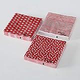 Home Collection Set di 60 (3 Confezioni da 20 Pezzi cad) Tovaglioli in Carta Monouso 3 Strati Veli 33x33cm Colore Bianco Rosso Motivo Punti Cuori Righe