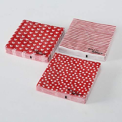 Home Collection Ensemble de 60 (3 Paquets de 20 pièces chacun) Serviettes en Papier Jetables 3 Couches Voiles 33x33cm Couleur Rouge Blanc Motif Points Coeurs Lignes