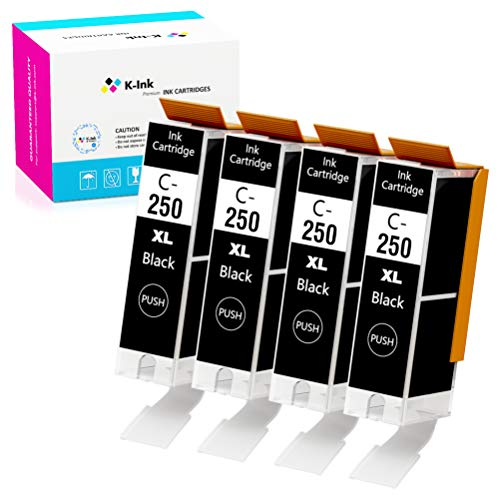 K-Ink Compatible Ink Cartridges Replacement for Canon PGI 250 PGI-250 XL Black (4 Big Black)