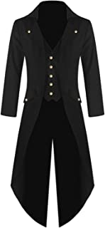 Men's Steampunk Gothic Jacket Vintage Victorian Tailcoat Tuxedo Uniform Halloween Costume Coat