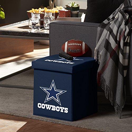 Franklin Sports NFL Dallas Cowboys Storage Ottoman with Detachable Lid 14 x 14 x 14 - Inch