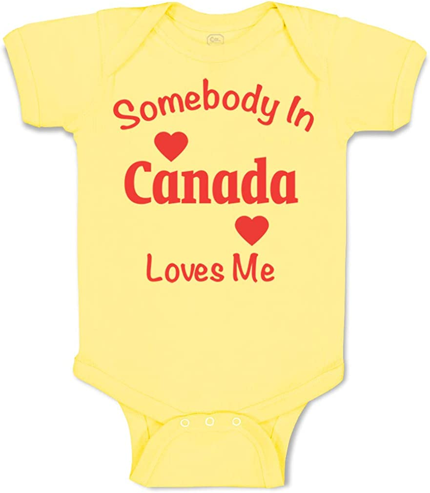 Custom Baby Bodysuit Somebody in Canada Loves Me Funny Cotton Boy /& Girl Clothes