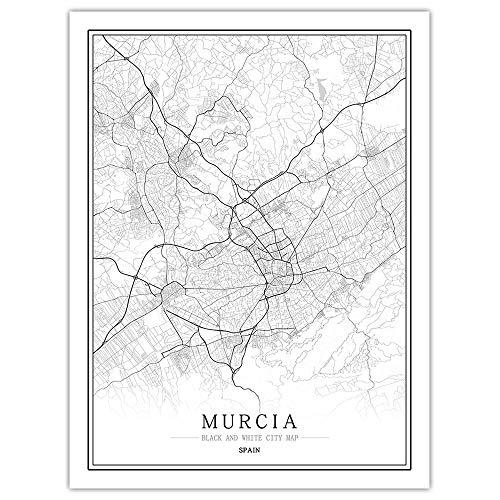 Mapa de la línea de la ciudad del mundo de España, impresión en lienzo y pósteres, lienzo para pared, para decoración del hogar, sin marco (Murcia, 30 x 40 cm)