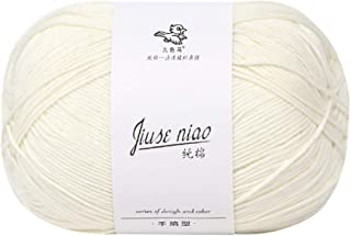 Soft Cotton Yarn for Crochet Baby Blanket, Scarf, Pom Pom Hat, Gloves - Cashmere Wool Hand Knitting Skeins Thick Chunky Thread DIY Colorful Craft Yarn Skein for Crafting Mini Projects (White)