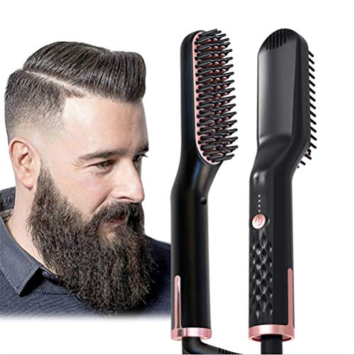 Beard Straightener for Men Electric Hair Straightener Brush 3-in-1 Ionic Straightening Comb with Free Beard Balm Anti-Scald Feature Heat Resistant Hair Straightening