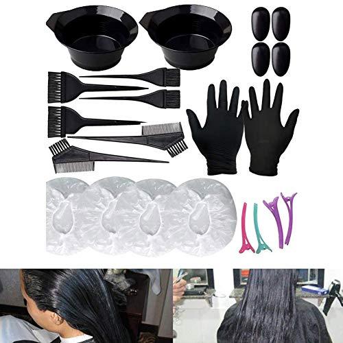 Lai-LYQ 22pcs / Set Kit De Teinture pour Les Cheveux, Brosse De Coloration des Cheveux Peigne Bol Gants Clip Salon De Coiffure Outils De Coiffure Noir