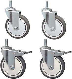 Swivel Meubelbeker Met Remmen, M10 Bout, Rubber Casters Wheel 75/100mm Silent Castors Wielen Met 360 Draaibaar 4st 3/4 Inch