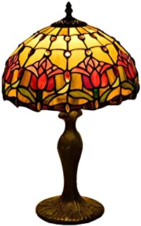 Red Tulip Tiffany Style 12 Inch Table Lamps Color Glass Art Desk Lamp for Living Room Bedroom Desk Restaurant Clubhouse Hotel