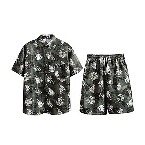 SSMDYLYM Traje de Verano para Hombres, Estampado de Calle Solapa Camisa de Manga Corta Corta Pantalones Cortos de Playa Reservar de Verano Hombres Casuales Transpirables