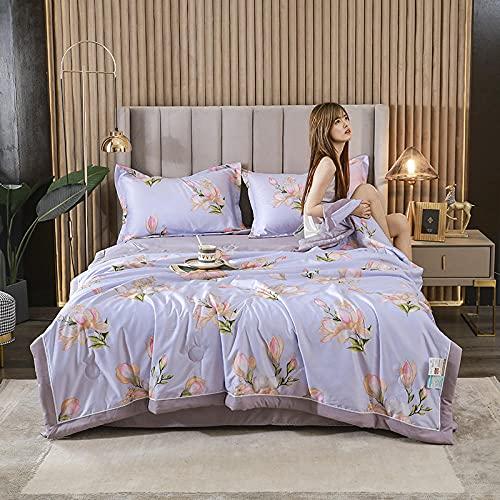Meet Beauty Sabanas Seda Conjunto de Colcha de sedacolchas Ligeras para el Verano, 1 lámina y 2 farsas de Almohada-púrpura_150x200 cm una Colcha