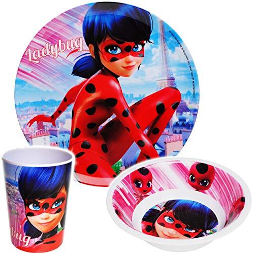 alles-meine.de GmbH 3 TLG. Geschirrset - Miraculous - Ladybug und Cat Noir - BPA frei - Melamin - Trinkbecher + Teller + Müslischale - Kindergeschirr - Kunststoff Plastik - Frühs..
