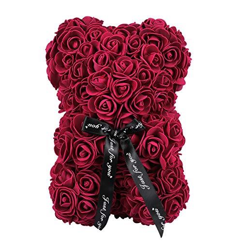 NUOBESTY Weinrot Rosenbär Rosenblume Teddybär künstliche konservierte Blume handgemachte Teddybär für Valentinstag Muttertag Geburtstage Hochzeiten