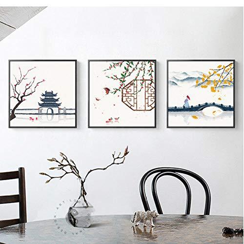 Originele Chinese afbeeldingen vlag esdoorn Tempel brug canvas schilderij muurkunst voor woonkamer keuken elegante decoratie vierkant 50 x 50 cm x 3 zonder lijst