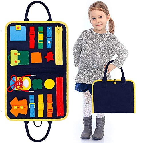 Kleinkinder beschäftigt Board, Montessori Basic Skills Activity Board, Spielzeug anziehen, Spielzeug für 1 2 3 4-jährige Kleinkinder mit Reißverschlüssen (16)