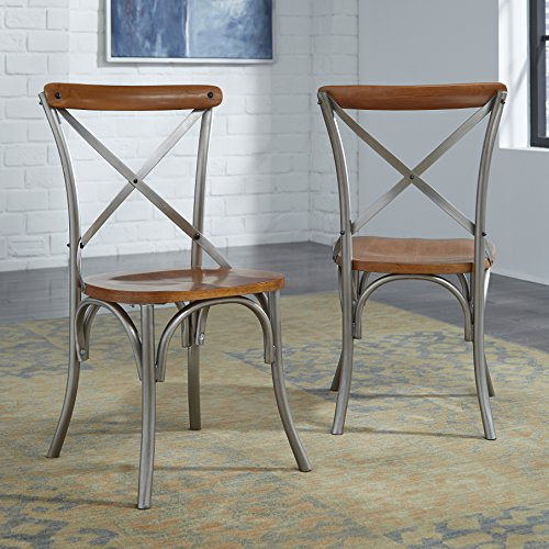 Home Styles Orleans Pair of Dining Table Side Chairs, Metal and Wood