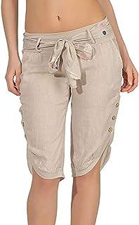ec9a05f7106 Shujin - Pantalones Pirata de Verano para Mujer, de Lino, Ligeros, con  cinturón
