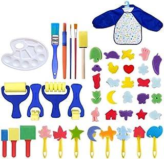 Chengrui Kids Paint Arts and Crafts Kits Toddler DIY Learning Foam Brushes Apron Sponge Pattern Drawing Tool 46 Pcs,Random...