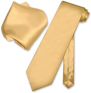 5791deb7b7b58 Biagio 100% SILK Solid GOLD Color NeckTie & Handkerchief Men's Neck Tie Set