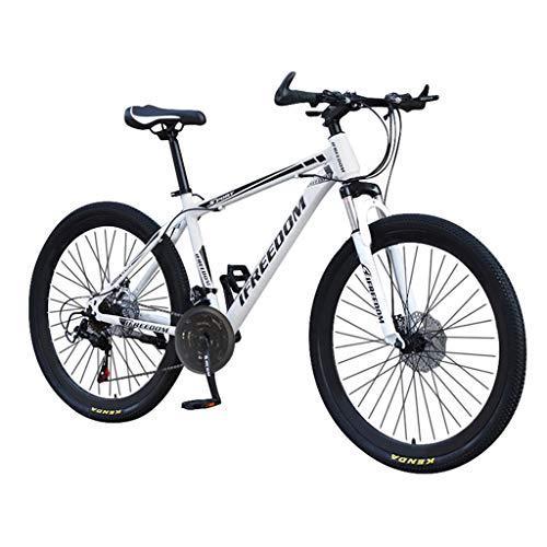 Bike Mountain 26 Pollici 21 velocità, Bicicletta Bici, parafango Anteriore e Posteriore, per Uomo, Doppio Disco e Doppia Sospensione per Adulti, Mountain Sedile Regolabile (Bianca)