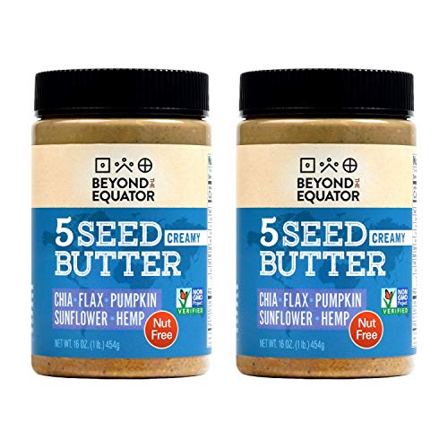 Beyond the Equator 5 Seed Butter Creamy- Peanut Free, Tree Nut Free, Sunflower Seed, Chia Seed, Flaxseed, Pumpkin Seed, Hemp Hearts, Low Carb, Keto, Non-GMO, 2 Pack, 16 Ounces
