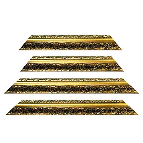 Neumann Bilderrahmen Barockrahmen Gold fein verziert 840 ORO, 70x100 Zuschnitt mit Gehrung