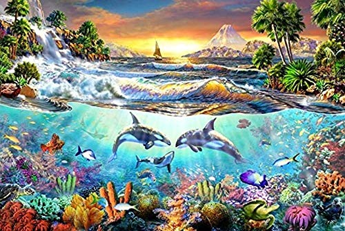 Fanxp Jigsaw Puzzles 1000Pcs, Wooden Landscape Puzzle, For Adult Kids Decompression Puzzle Nice Gifts - Whale Bay Jigsaw