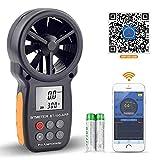 BTMETER Anemometro Digitale per Velocità del Vento Portatile, Misuratore Anemometro Wireless a Palette Bluetooth per Controllo del Freddo, Velocità, Temperatura BT-100APP