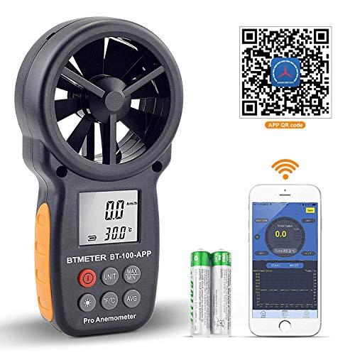 BTMETER Anemometro Digitale per velocità del Vento Portatile, Misuratore Anemometro Wireless a Palette Bluetooth per Controllo del Freddo, velocità, T