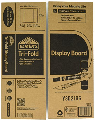 Elmer's Tri-Fold Display Board, White, 14x22 Inch