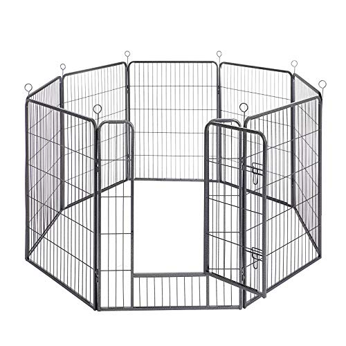 FEANDREA Welpenauslauf, Freigehege für Hund, 8 Gitter je 77 x 100 cm, grau