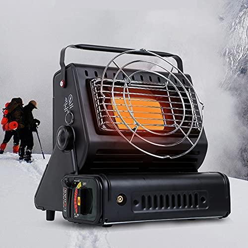 BKWJ Calentador para Exteriores 2 en 1, Calentador de propano o butano de Combustible Doble, Calentador de Gas portátil con asa, ángulo Ajustable, Estufa de Cocina para Acampar, Senderismo