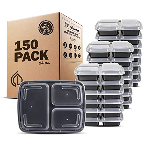 Freshware Meal Prep Containers [150 Pack] 3 Compartment with Lids, Food Storage Containers, Bento Box, BPA Free, Stackable, Microwave/Dishwasher/Freezer Safe (24 oz)