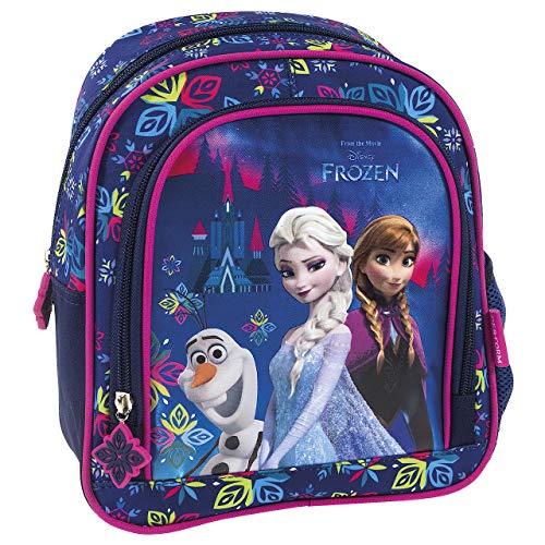 Disney Frozen Rucksack für Kinder - Maße: 25cm x 20cm x 10cm - Kinderrucksack ELSA und Anna aus dem Film Die Eiskönigin in blau und lila