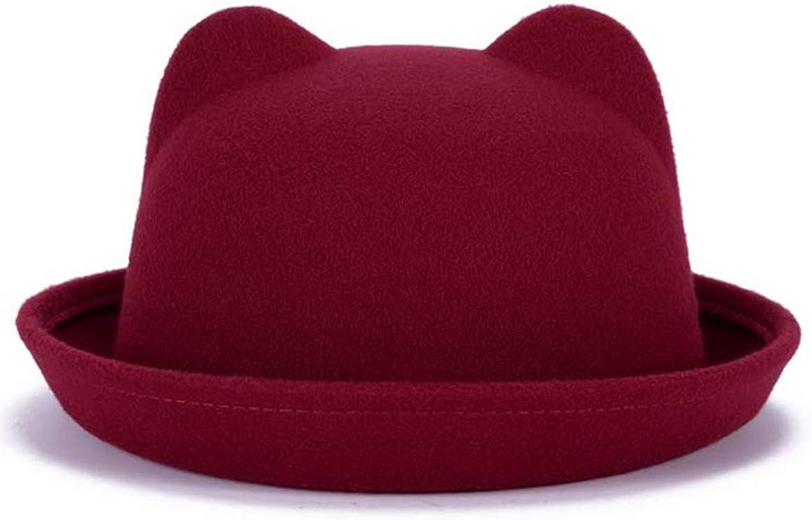 Women Lovely Ear Fedora Hat Men Felt Church Hats Manhattan Fedora Hat