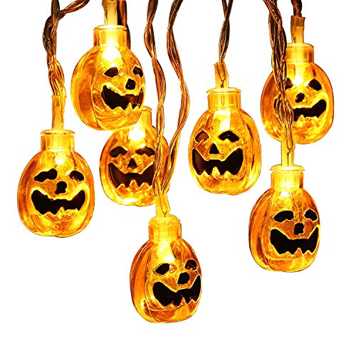 Brizled Halloween Lights, 30 LED 11.48ft 3D Pumpkin Lights Jack-O-Lantern Halloween String Light, Steady/Flashing Battery Pumpkin String Light for Halloween, Party and Christmas Decoration, Warm White