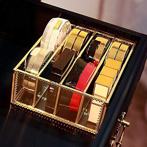 4 Fächer Lippenstifthalter Atemberaubende Waschtisch Staubfrei Glas Transparent Lipgloss Eye Liner Waschtischschrank Makeup Organizer mit abnehmbaren Trennwänden 4 Felder