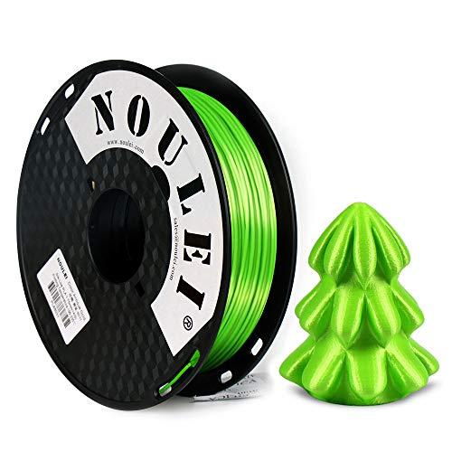 Noulei Shiny PLA Filament 1.75mm Silk Green, 3d Drucker printer Filament PLA 500g Spool
