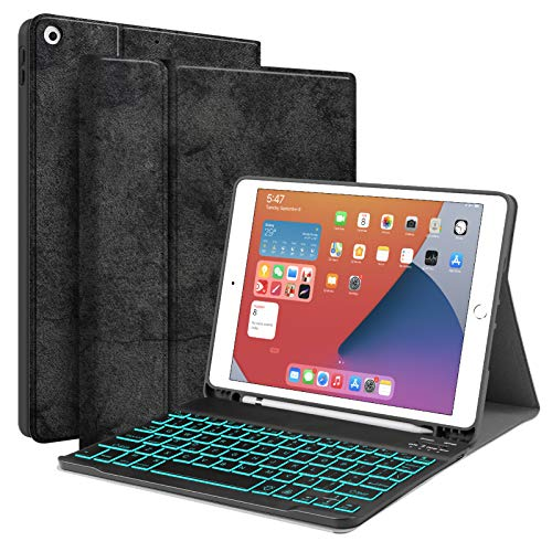 iPad Keyboard Case for iPad 10.2 2019 - JUQITECH Smart Case with Backlit Keyboard for iPad 7th Generation, iPad 7th Gen Detachable Wireless Rechargeable Keyboard Case Cover with Pencil Holder, Black