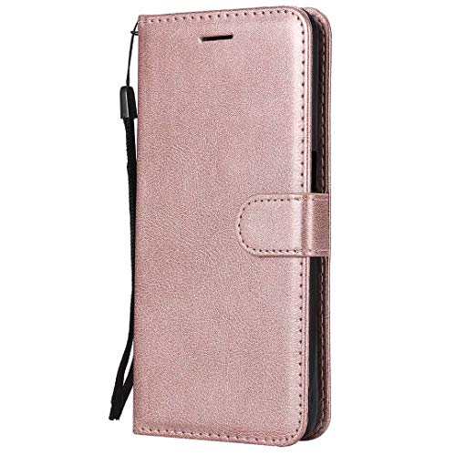 Moto G9 Play/G9 /E7 Plus Case Flip Premium PU Leather Shockproof Wallet Cases with Stand Magnetic Money Pouch Folio Silicone Bumper Gel Protective Phone Cover for Moto G9 Play/G9 /E7 Plus Rose gold