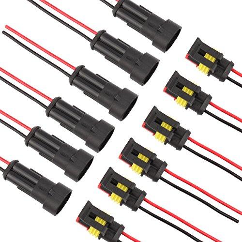 TOMALL 2 Pin Way 16 AWG Wasserdichten Stecker für Elektrische Schnellsteckdose 2 Draht Pigtail 1,5mm Serie (Pack von 6)