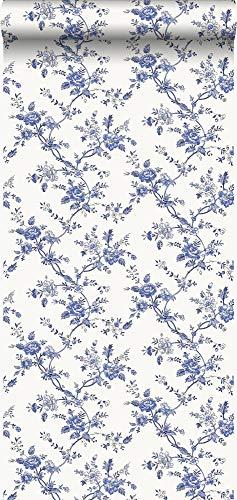 behang bloemetjes delfts blauw - 326133 - van Origin - luxury wallcoverings