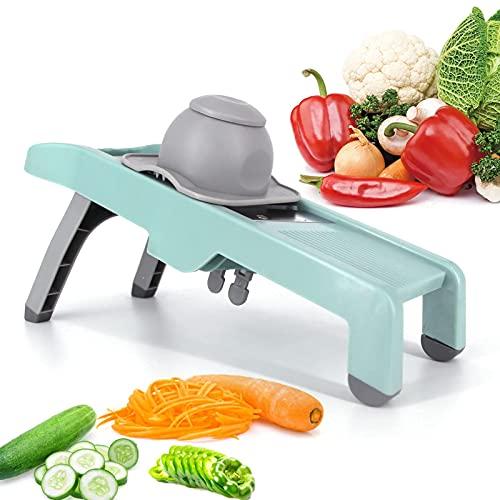 Bestomrogh Adjustable Mandoline Slicer, Multi-Function Stainless Steel Professional Grade Julienne Slicer Cutter with Non-Slip Base, Best for Slicing Food, Fruit and Vegetables