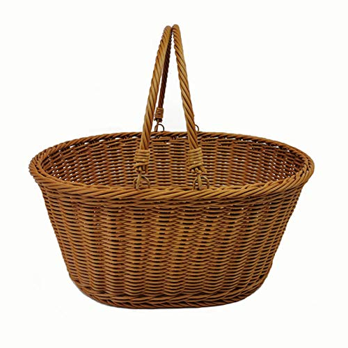 Great Deal! REVOLUMINI Poly-Wicker Picnic Basket Woven Shopping Basket Bread Basket Outdoor Picnic S...