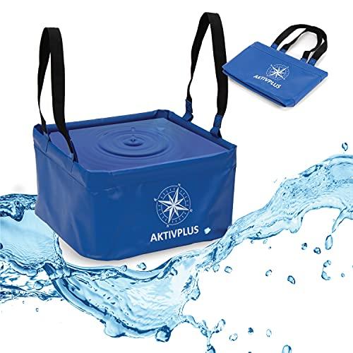 AktivPlus® Robuster Falteimer mit über 16L Kapazität (Blau) | Verstärkte Ecken & lange Schleifen als faltbarer Eimer, beim Camping, Angeln | Einsetzbar als Wasch-Schüssel & Spül-Schüssel Faltschüssel